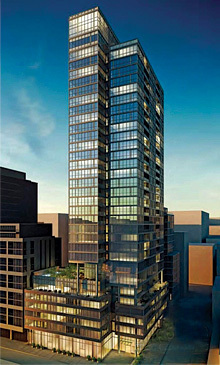 Rendering of Charlie Condos Building at 8 Charlotte St Toronto Entertainment District
